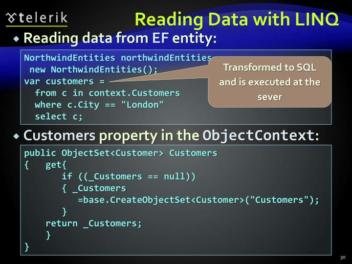 Reading Data with LINQ