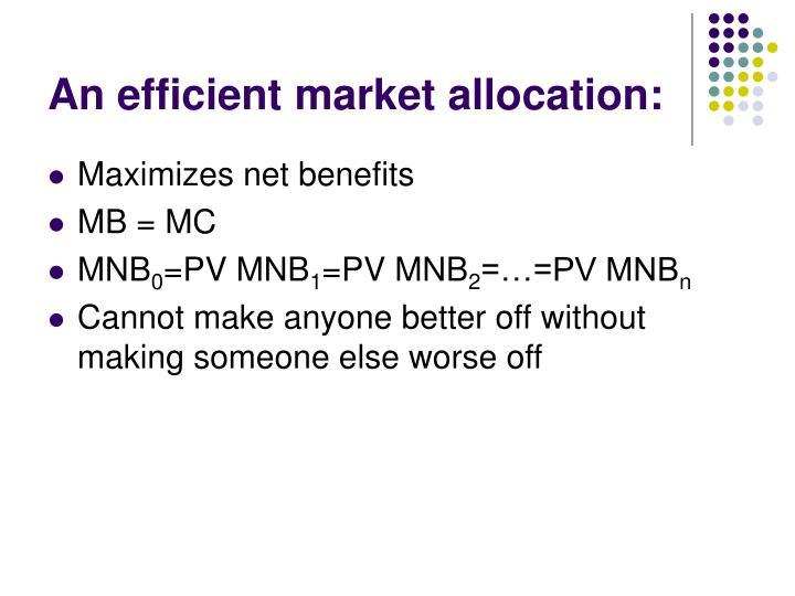 An efficient market allocation: