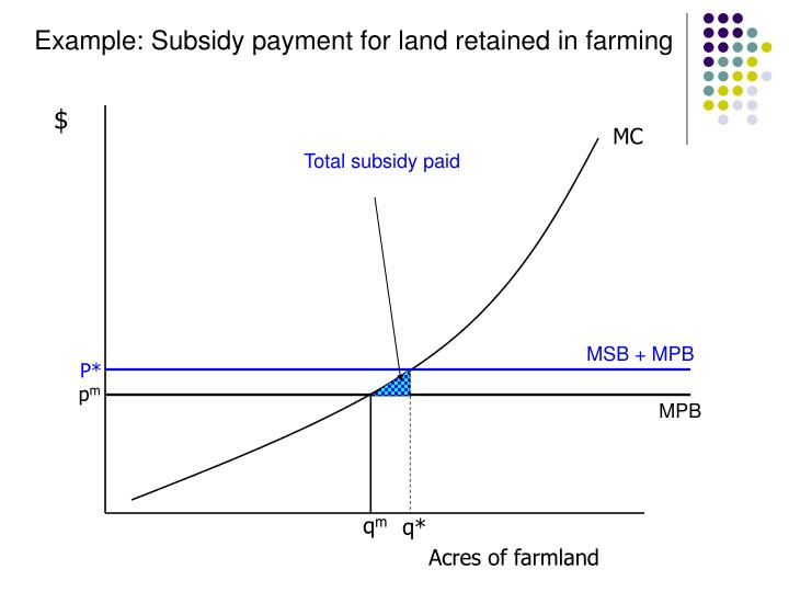 Example: Subsidy payment for land retained in farming