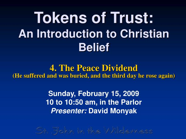 Tokens of trust an introduction to christian belief