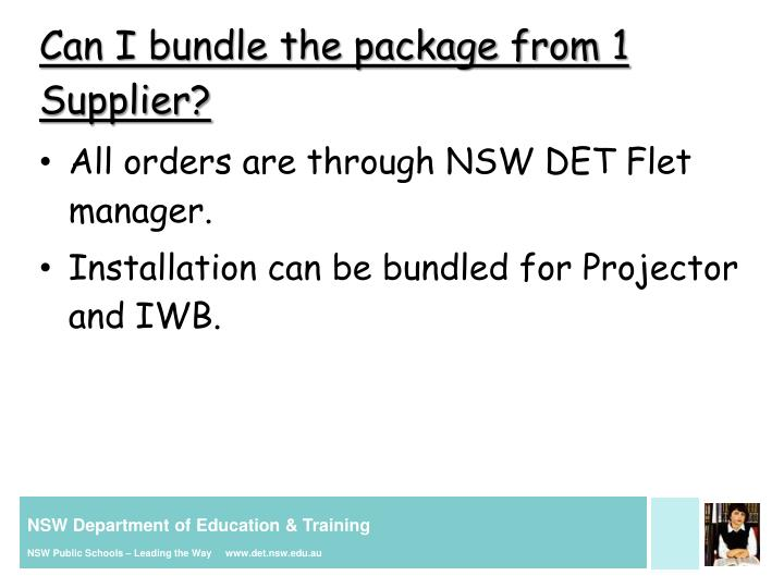 Can I bundle the package from 1 Supplier?