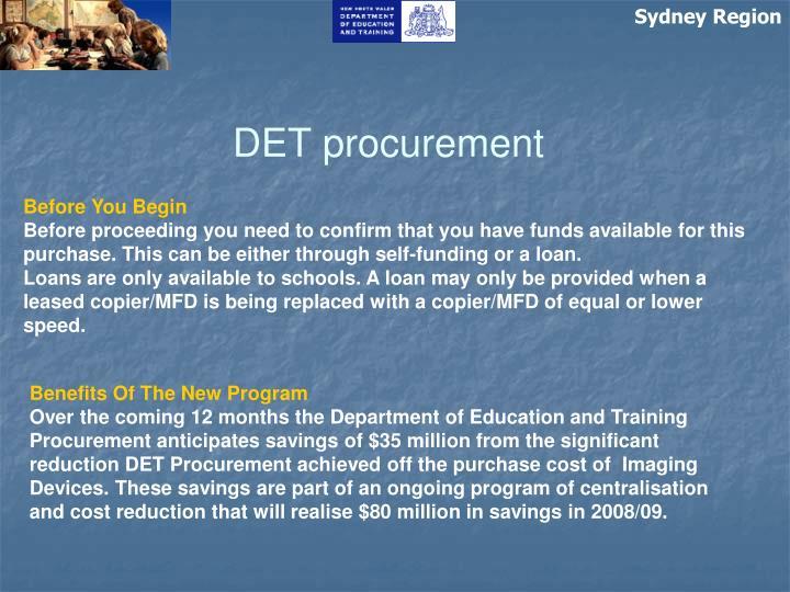 DET procurement