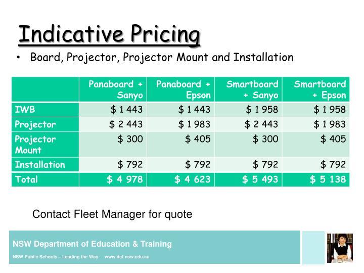 Indicative Pricing