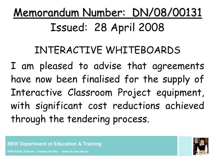 Memorandum Number:  DN/08/00131
