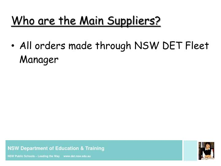 Who are the Main Suppliers?