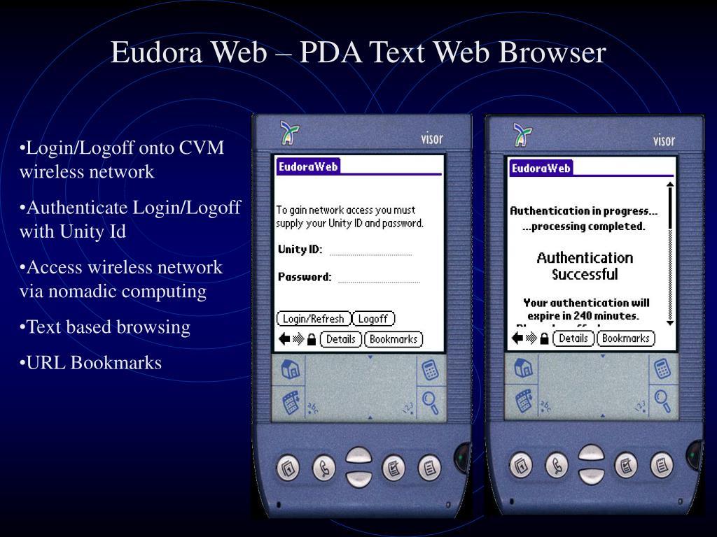 Eudora Web – PDA Text Web Browser
