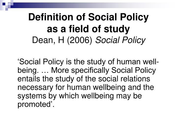 Definition of Social Policy