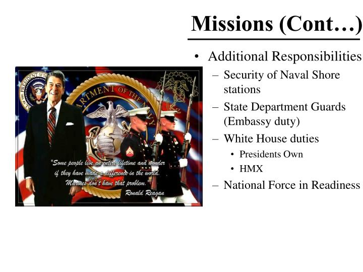 Missions (Cont…)