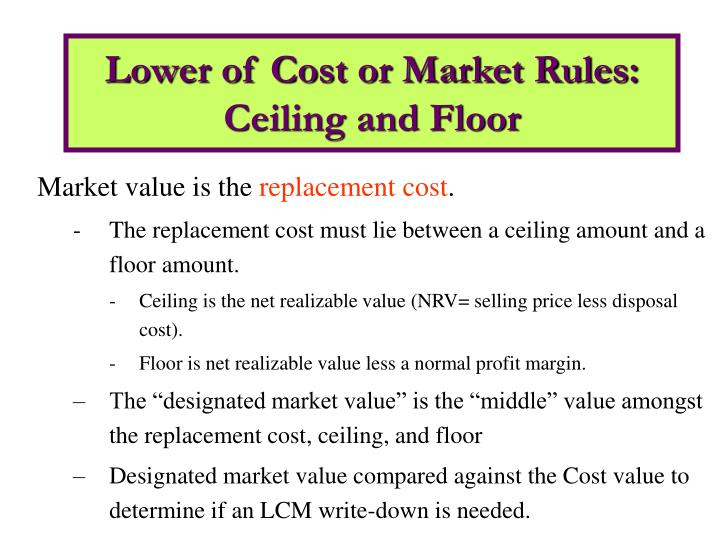 Lower of cost or market rules ceiling and floor