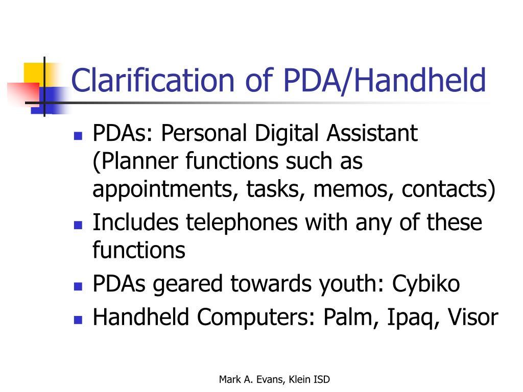 Clarification of PDA/Handheld