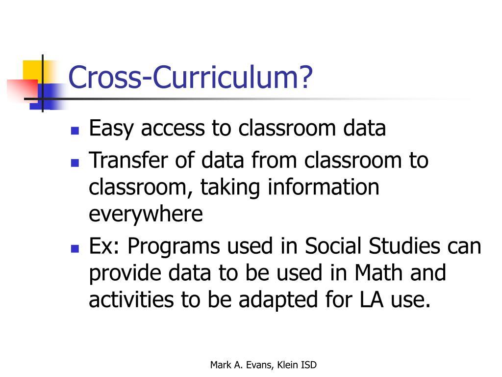 Cross-Curriculum?