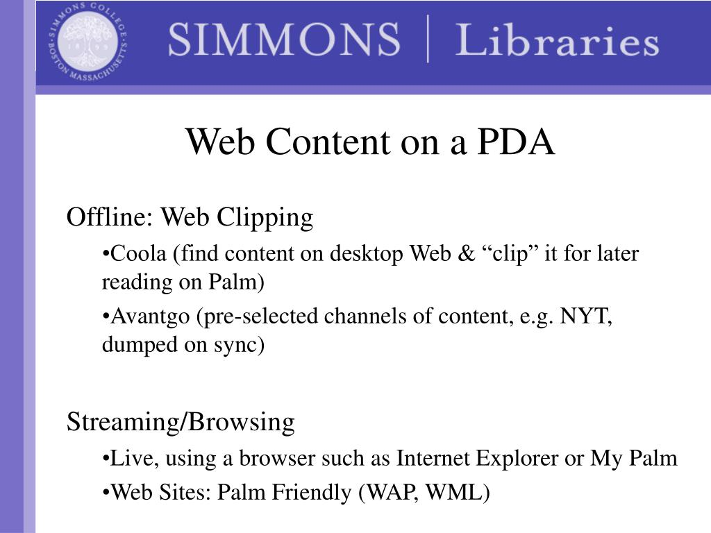 Web Content on a PDA
