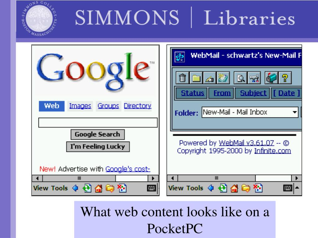 What web content looks like on a PocketPC