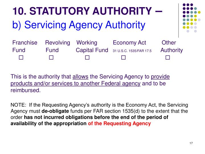 10. STATUTORY AUTHORITY
