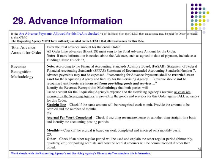 29. Advance Information