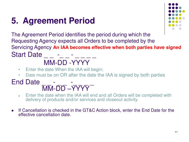 5.  Agreement Period