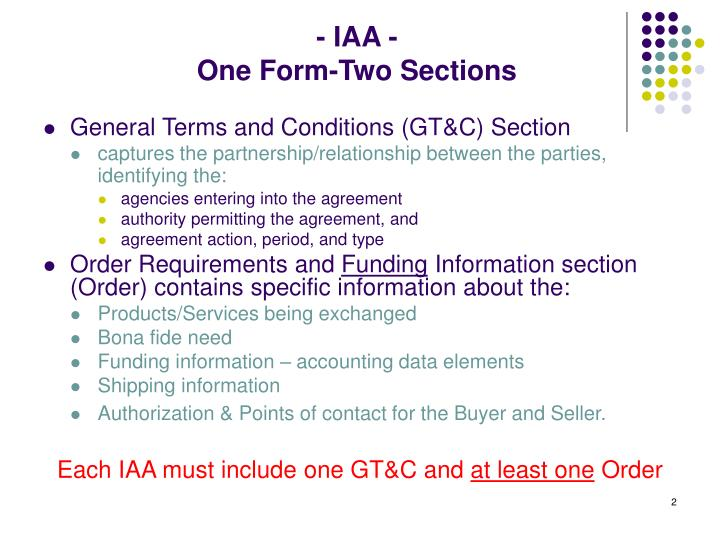 Iaa one form two sections