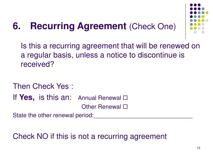 Recurring Agreement