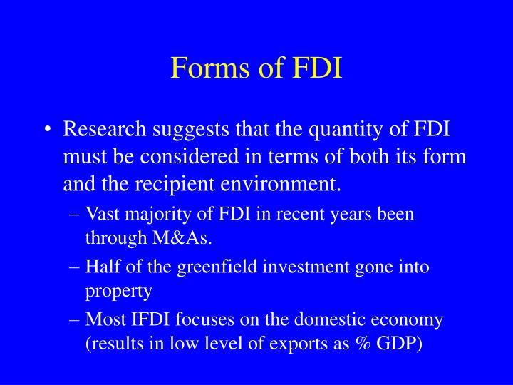 Forms of FDI
