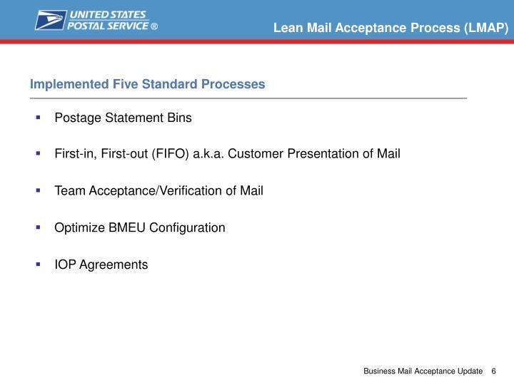 Lean Mail Acceptance Process (LMAP)