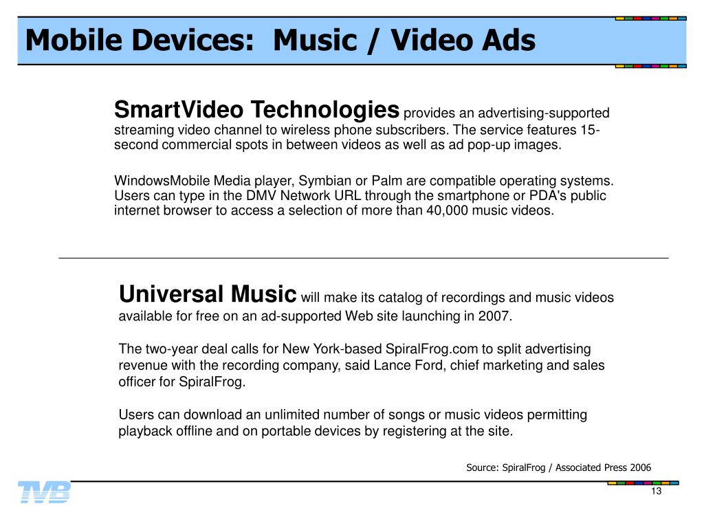 Mobile Devices:  Music / Video Ads