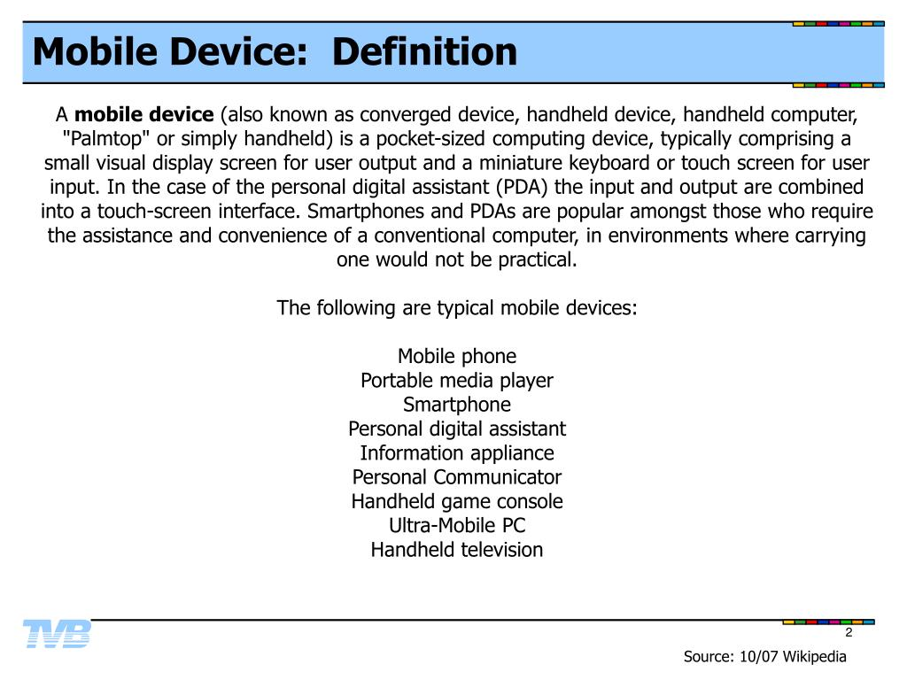 Mobile Device:  Definition