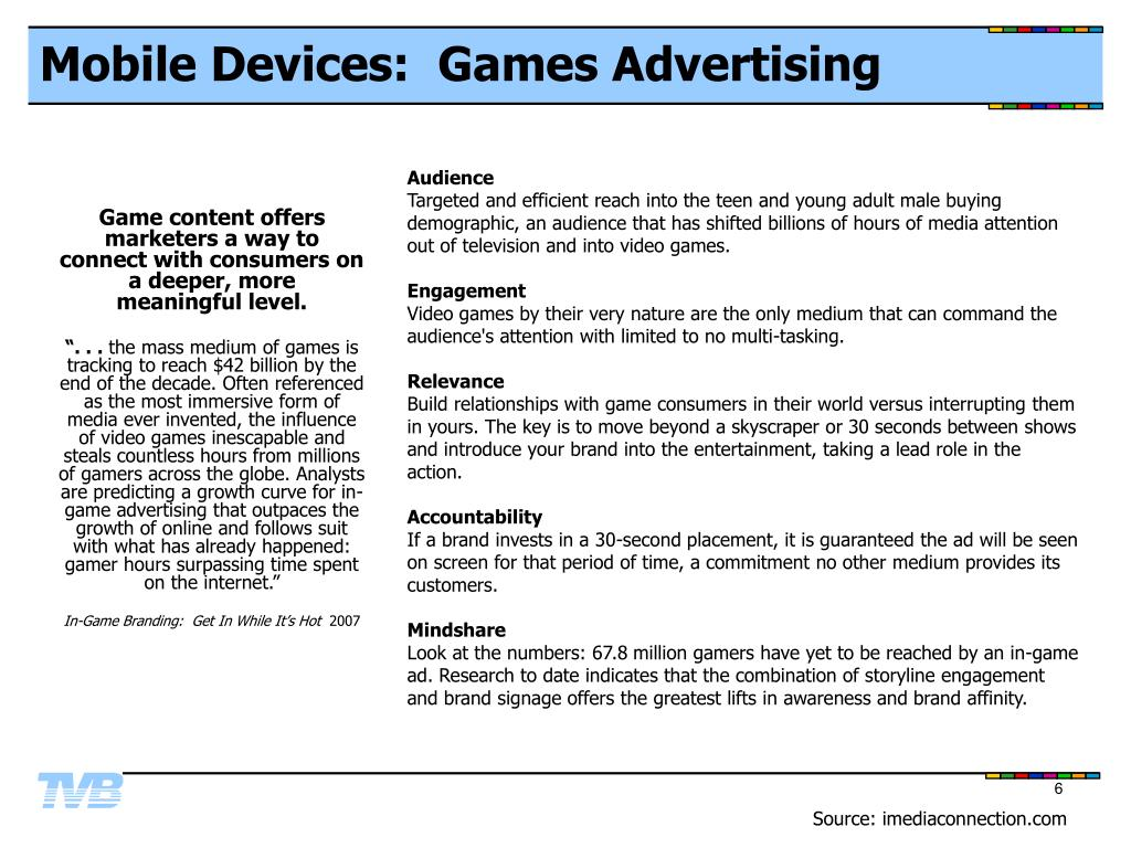 Mobile Devices:  Games Advertising