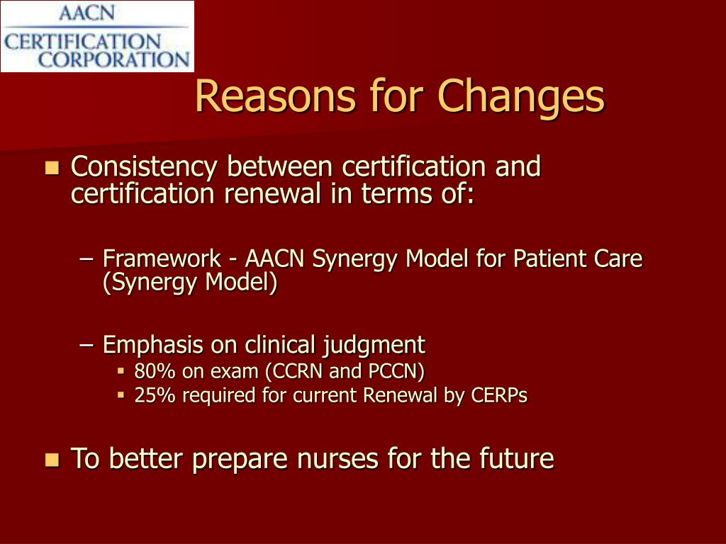 Reasons for Changes