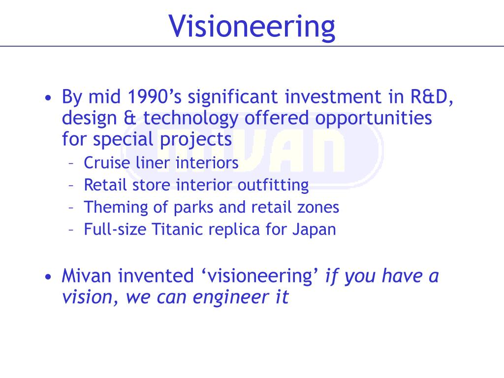 By mid 1990's significant investment in R&D, design & technology offered opportunities for special projects