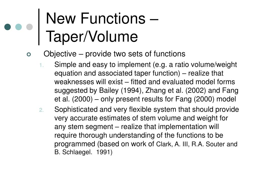 New Functions – Taper/Volume