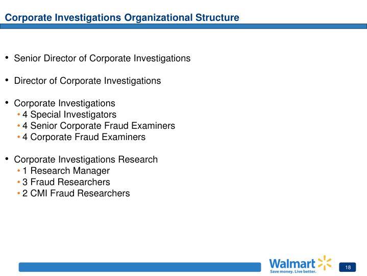 Corporate Investigations Organizational Structure