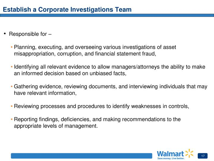 Establish a Corporate Investigations Team
