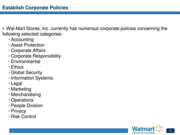 Establish Corporate Policies