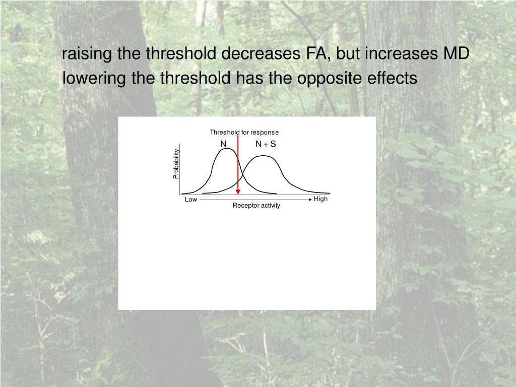 raising the threshold decreases FA, but increases MD