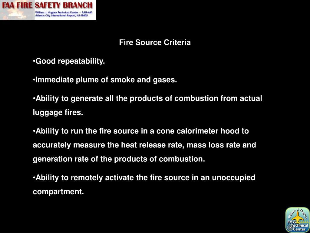 Fire Source Criteria