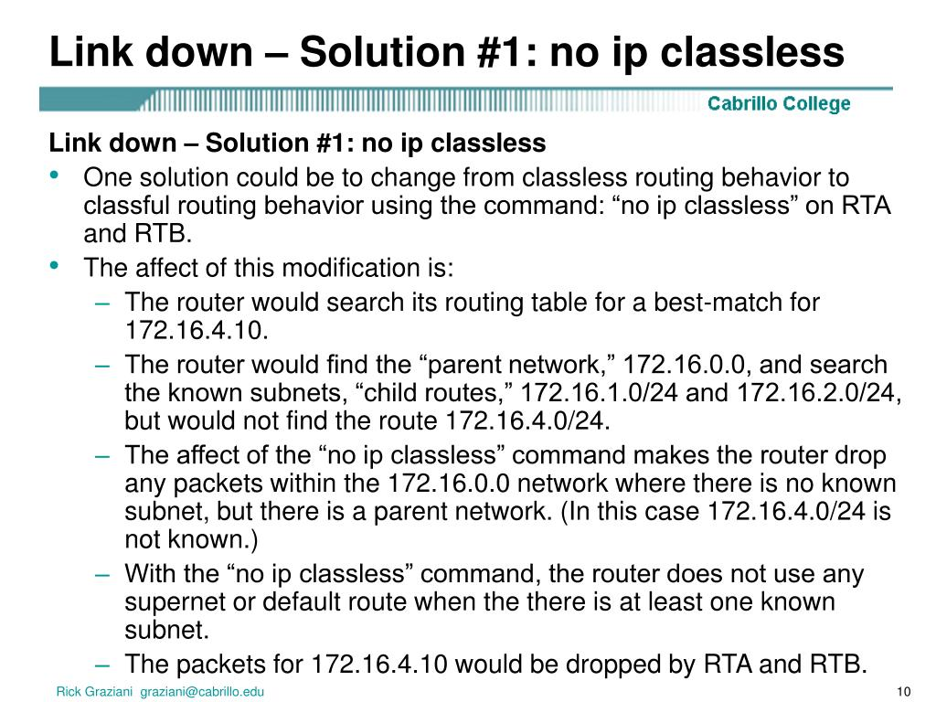 Link down – Solution #1: no ip classless