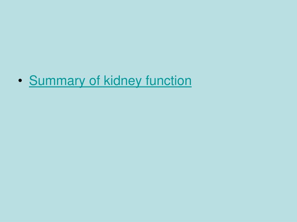 Summary of kidney function