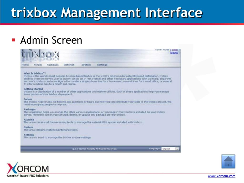 trixbox Management Interface