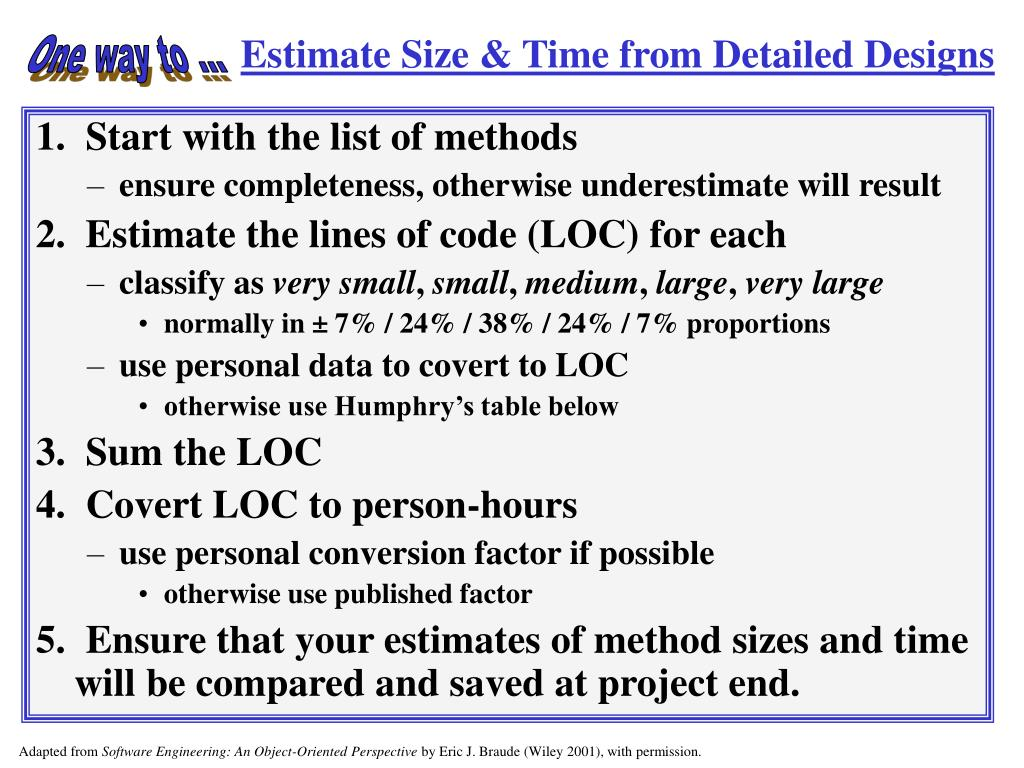 Estimate Size & Time from Detailed Designs