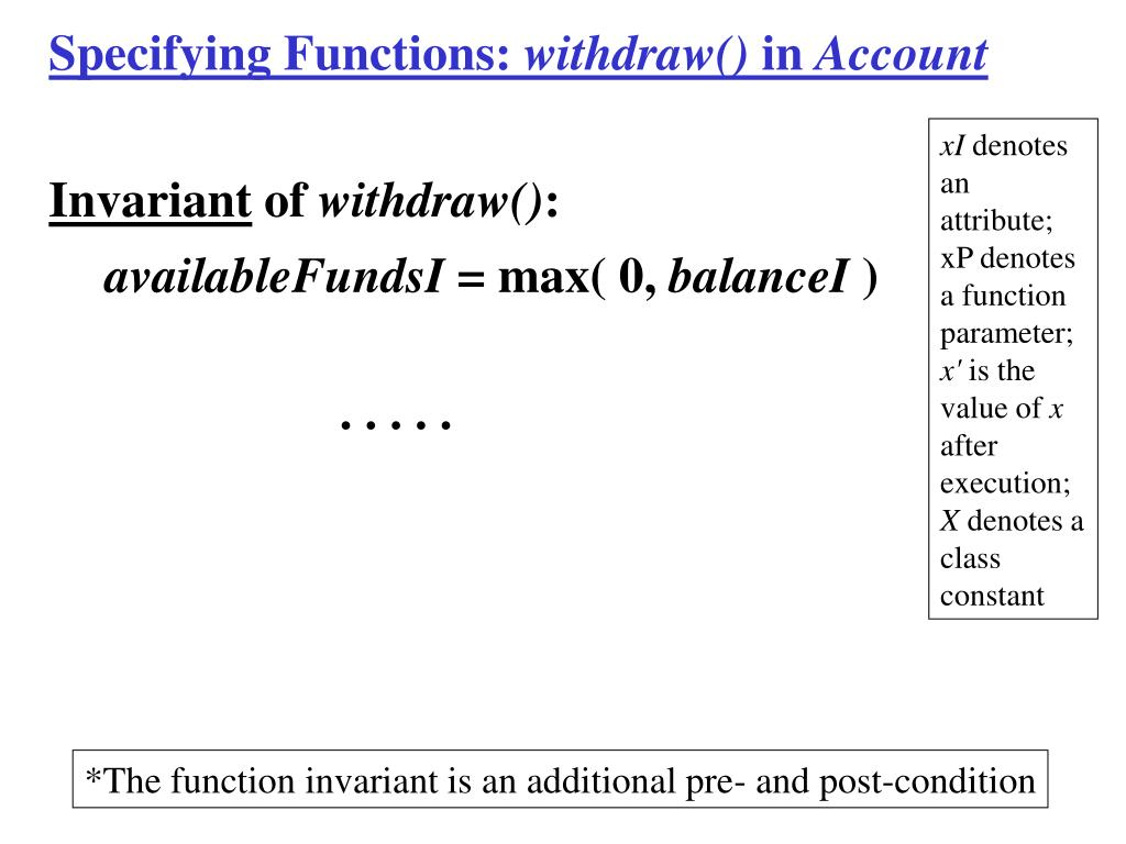 Specifying Functions: