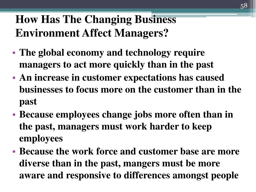 How Has The Changing Business Environment Affect Managers?