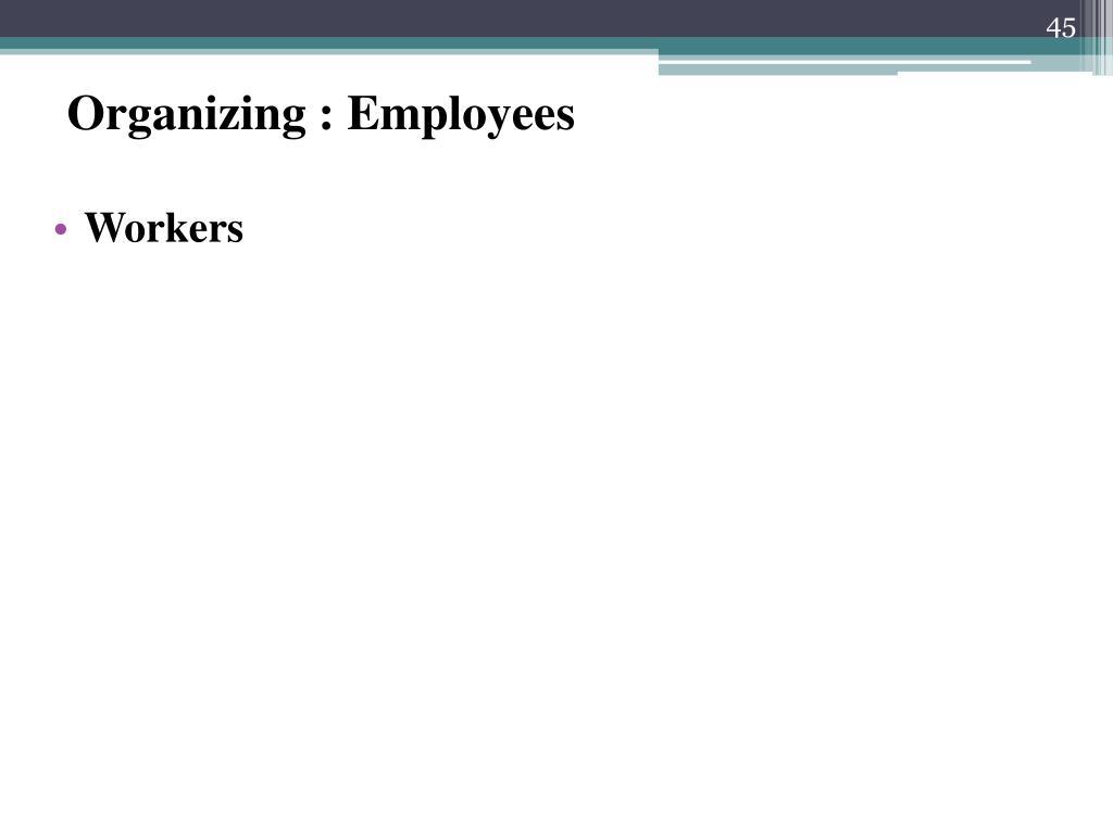 Organizing : Employees