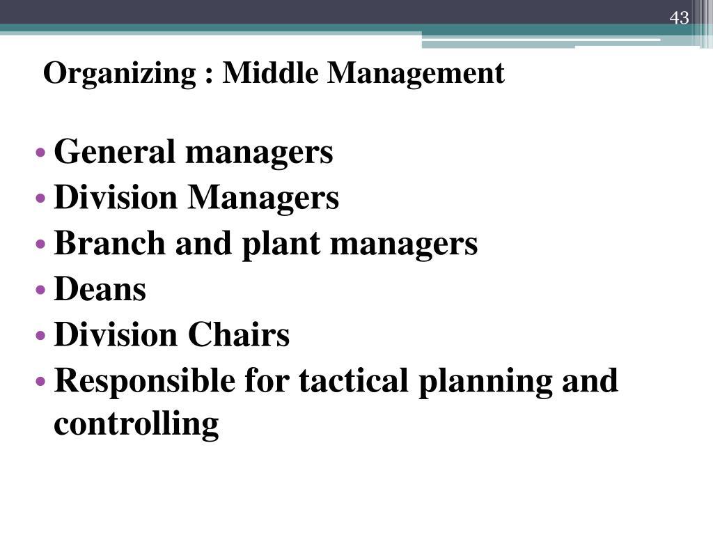 Organizing : Middle Management