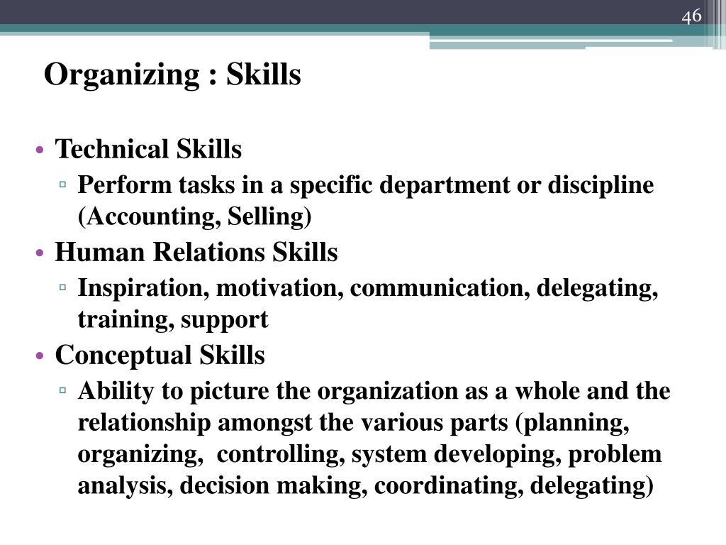 Organizing : Skills