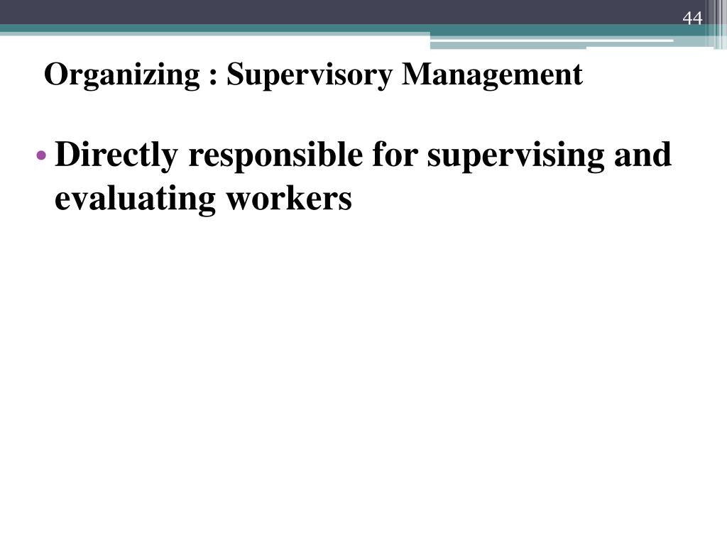 Organizing : Supervisory Management
