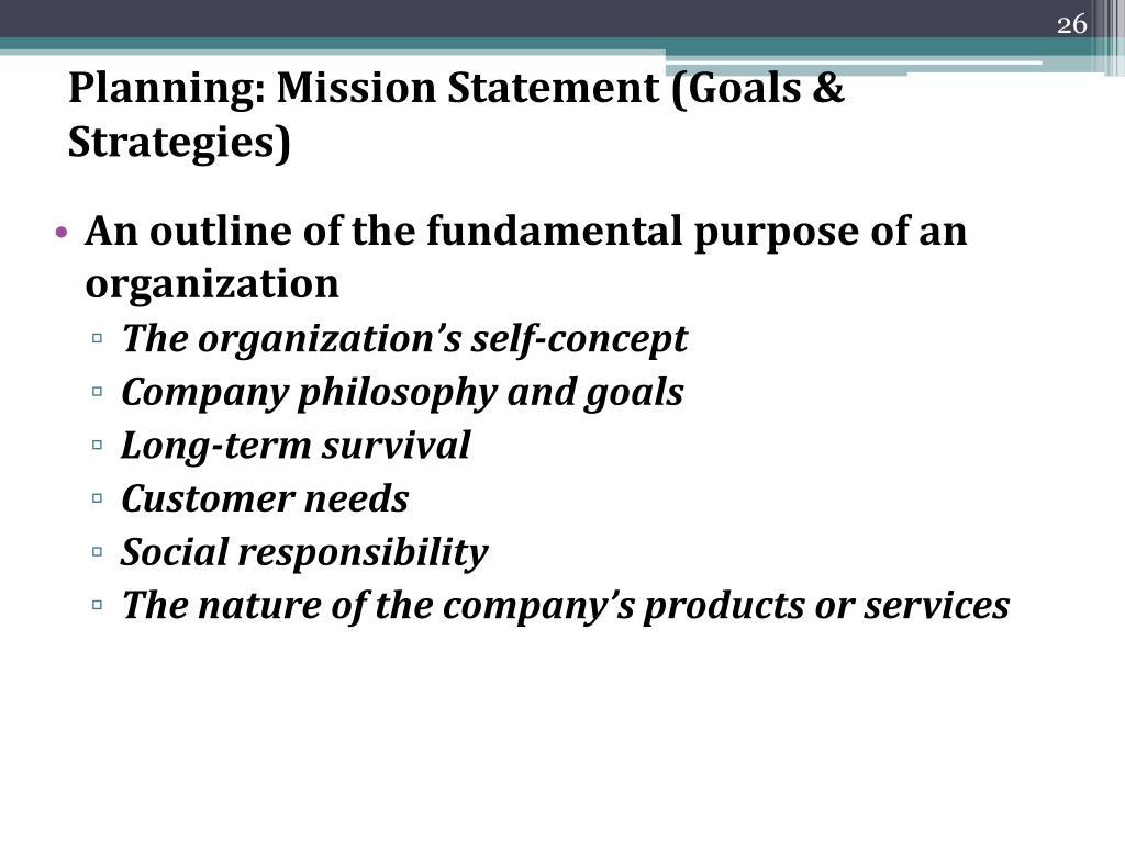 Planning: Mission Statement (Goals & Strategies)