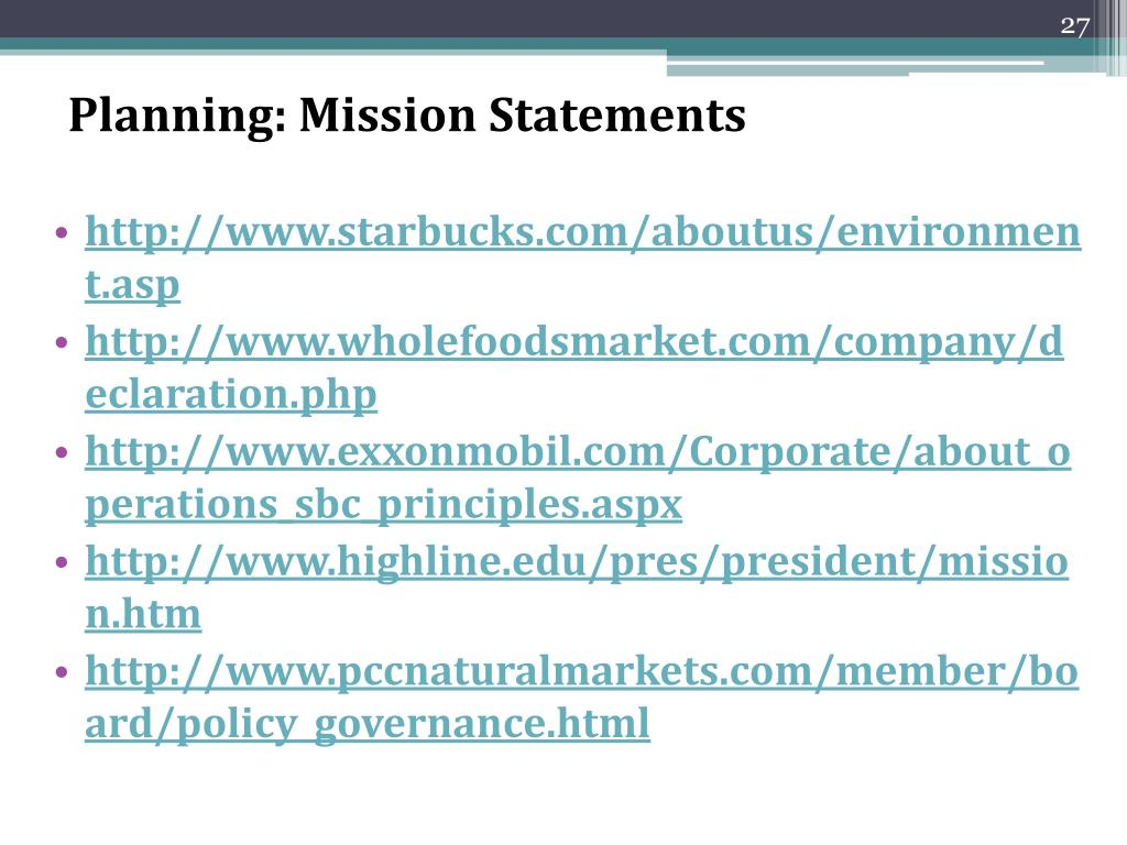Planning: Mission Statements