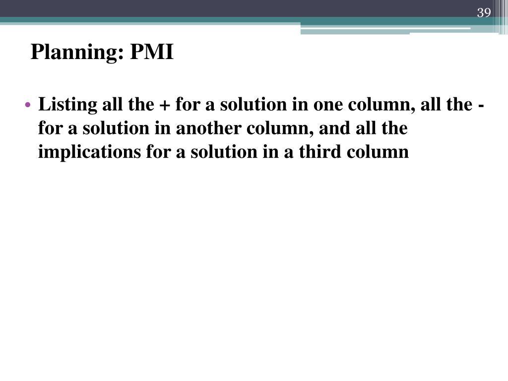 Planning: PMI
