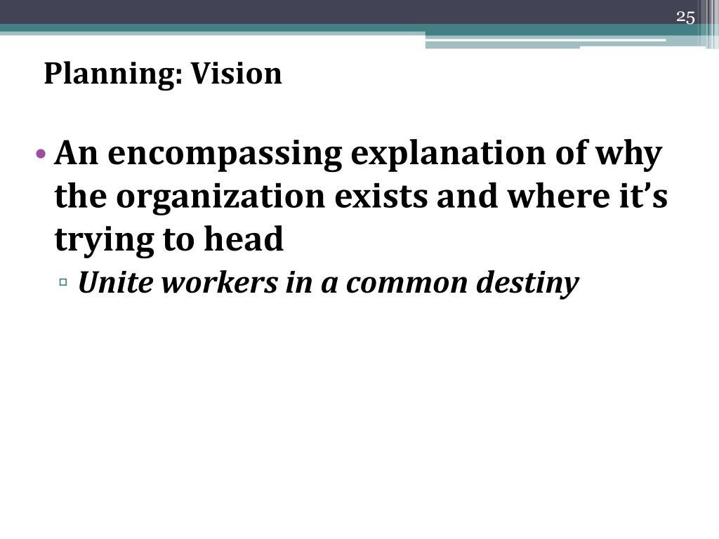Planning: Vision