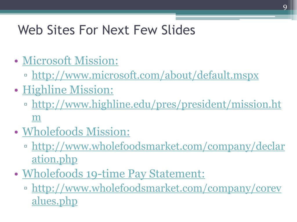 Web Sites For Next Few Slides